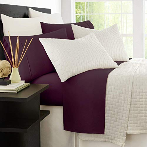 Zen Bamboo 1800 Series Luxury Bed Sheets - Eco-Friendly, Hypoallergenic and Wrinkle Resistant Rayon Derived from Bamboo - 4-Piece - Queen - Purple (Bamboo Set Purple Sheet Queen)
