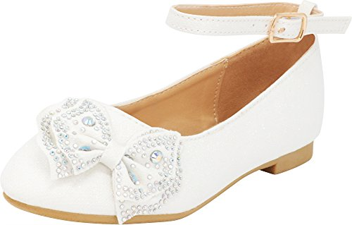 Cambridge Select Girls' Closed Round Toe Buckle Ankle Strap Crystal Rhinestone Bow Ballet Flat (Toddler/Little Kid/Big Kid),9 M US Toddler,White by Cambridge Select