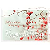 Holiday Greeting Cards - H7049. Business Greeting Card with Holly Berries in Winter. Box Set Has 25 Greeting Cards and 26 White with Red Foil Lined Envelopes.