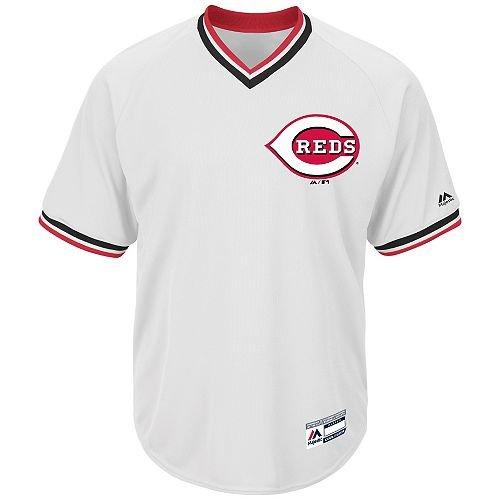 Adult Large Cincinnati Reds BLANK BACK Major League Baseball Cool-Base V-Neck (Cincinnati Reds Striped Shirt)