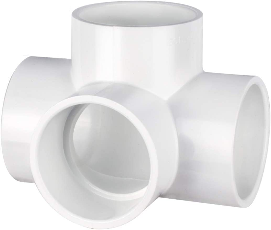 """CIRCOPACK 2"""" 4-way Ell Tee Utility Grade PVC Elbow Fitting Connectors for use with Schedule 40 2"""" PVC Pipes (2 pieces) (4-way)"""