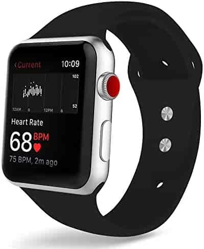 YIUES Compatible with Apple Watch Band Series 4 40mm 44mm Series 3/2/1 38mm 42mm Men and Women, Silicone Sport Replacement iWatch Band