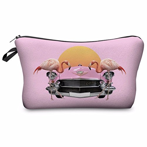 Kukubird Unicorn Emoji Flamingo Animals Make Up Bag Wash Bag Toiletry Cosmetics Wallet Pencil Pen Holder Organiser Pouch Case - Cadillac Sun
