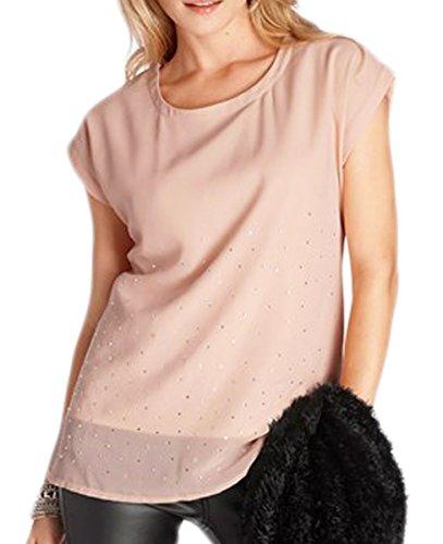 TopsandDresses - Camiseta de manga larga - Blusa - Sin mangas - para mujer Pink/nude