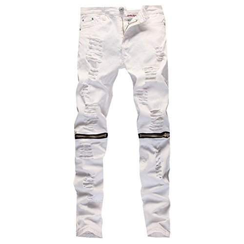 Leward Mens Ripped Skinny Distressed Destroyed Straight Fit Zipper Jeans with Holes