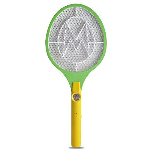 Yongtong Electric Mosquito Racket, Portable Insect Killer Pest Control, Handheld Bug Zapper Swatter, with LED Nightlight and 2 Switch Buttons, Used by 2 AA batteries, for Indoor and Outdoor Use