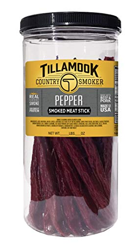 Tillamook Country Smoker All Natural, Real Hardwood Smoked Pepper Sticks 1lb Jar (20 ct)