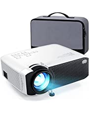 """Projector, 2021 Upgraded 5000L 1080P HD and 180"""" Display Supported, Mini Projector, 55,000Hrs LED Life Movie Projector, Compatible with TV Stick, VGA, PS4, HDMI, TF, AV, USB, with Carry Case"""