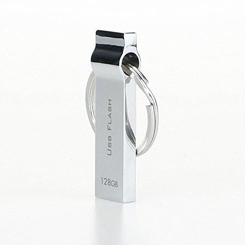 Metal Thumb drive 128GB - Silver with Keychain Design / CC-yj28