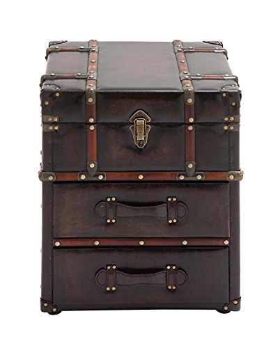 Deco 79 55748 Wood Leather Side Cabinet, 18
