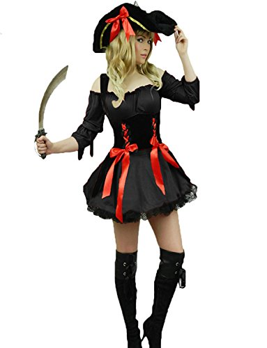 [Yummy Bee Womens Pirate Caribbean Captain Costume + Sword Hat Size 14 - 16, Black] (Musketeer Sword Costume)
