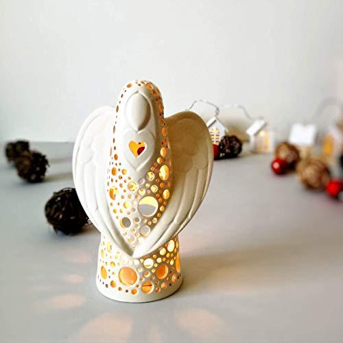 (Angel Lantern Centerpiece, Ceramic Candle Holder)