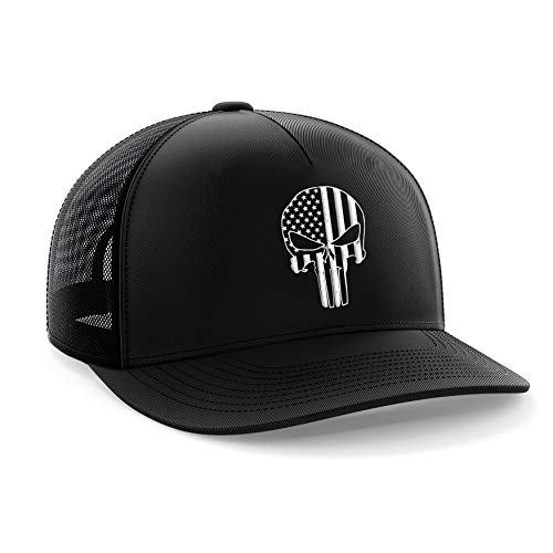 (Tactical Pro Supply Punisher Skull Classic Mesh Snapback Hat,Black,One Size Fits All)