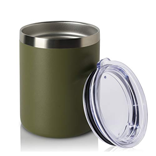 (ONEB 12oz Double Wall Vacuum Insulated Travel Mug, Stainless Steel Tumbler with Lid, Durable Powder Coated Insulated Coffee Cup for Cold & Hot Drinks (Army Green 1pack))