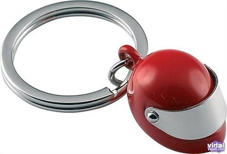 Llavero Casco moto rojo zinc: Amazon.es: Equipaje