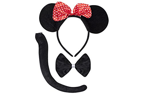 [Cute Animal Headband Ear Set with a Tail and a Bow Tie (Mini Mouse)] (Mouse Ears And Tail Costumes)