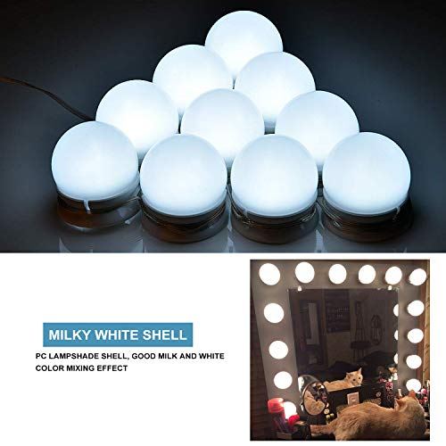 Art Deco Vanity Table - ARyee Hollywood Style LED Vanity Mirror Lights Kit with 10 Dimmable Light Bulbs&Lighting Fixture Strip for Makeup Vanity Table Set in Dressing Room,with USB Charging Cable,Mirror Not Include