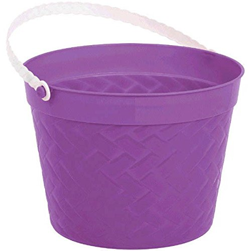 Egg-stra Special Easter Party Weave Design Bucket Favour, Purple, Plastic, 6