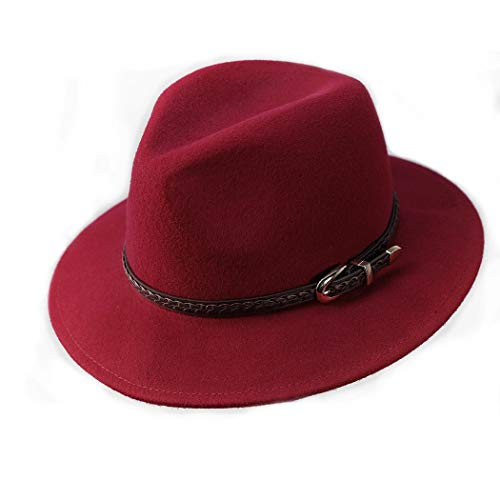 (Verashome Wool Fedora Hat Women's Felt Panama Crushable Vintage Style with Leather Band (Blood Red))