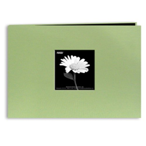 Pioneer 5 Inch by 7 Inch Postbound Fabric Frame Front Memory Book, Sage Green by Pioneer Photo Albums