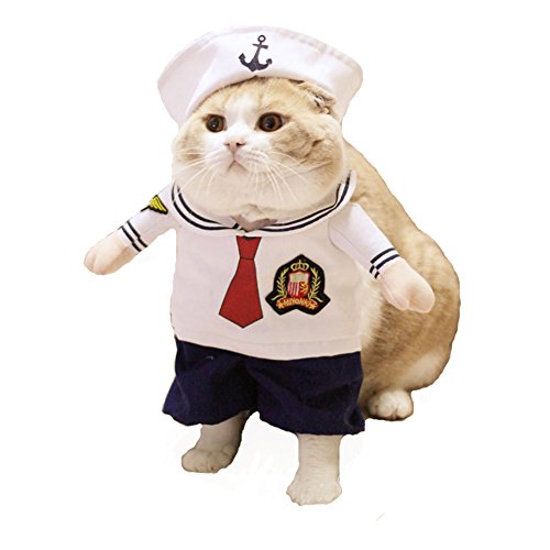 [NACOCO Dog Sailor Costume Navy Suit with Hat Halloween Christmas Pet Costumes for Puppy and Cat (M)] (Sailor Moon Cat Costume)