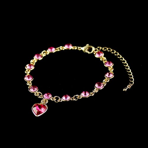2014 New Fashion Jewelry 18kgp & Austrian Crystal Gold Color Link Chains Heart Charm Alloy Bracelets for Women