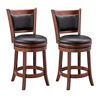 Image of Ball & Cast Jayden Hardwood Counter-Height Swivel Bar Stool with Faux-Leather Upholstery, 24-Inch, Set of 2, Cherry Chocolate Home and Kitchen
