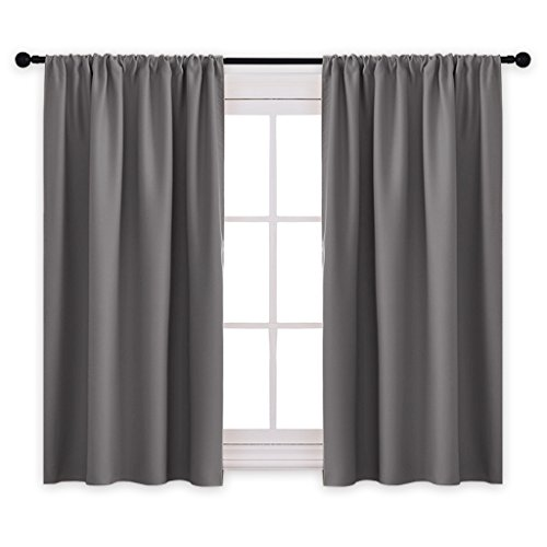Grey Fabric Custom (PONY DANCE Grey Blackout Curtains - Rod Pocket Drapes Thermal Insulated Panels Home Décor Window Treatments Draperies Bedroom, 42 inch wide 45 inch long, Grey, Sold as 1 Pair)