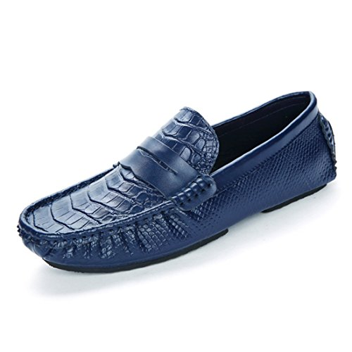 Mens Cowskin Slip On Boat Shoes Mocassino Classico Guida Mocassini Scarpe Wde8699 Blu