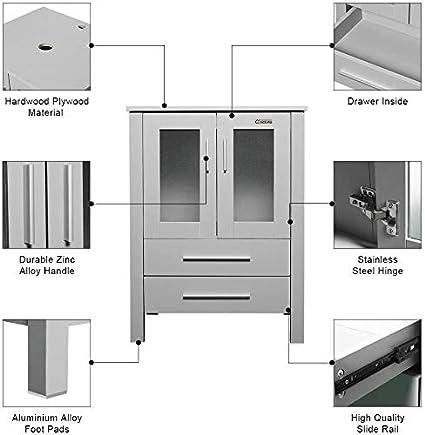 24 Cabinet Stand Wood Mirror Storage 2 Door 2 Drawer Single Painted Grey Square Caribbean Combo LUCKWIND Bathroom Vanity Vessel Sink Combo