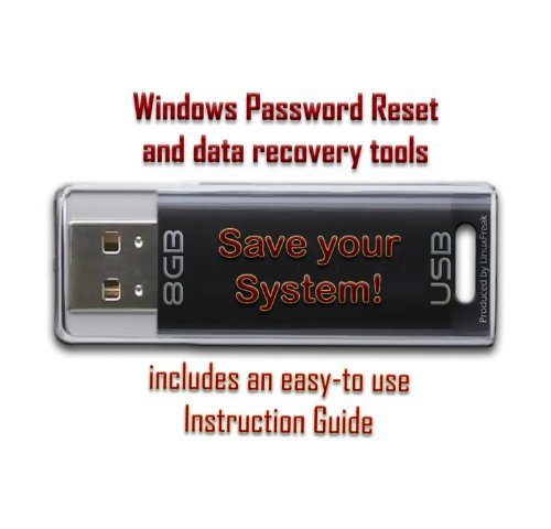 Password Reset and Data Recovery Tools for Windows - on 8GB USB Drive - Works with Windows 8, 7, Vista, XP, etc. by LinuxFreak