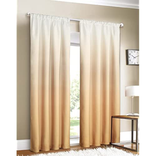 Dainty Home Shades 2 Window Panel Rod Pocket Set, 40 By 84 Inch, Gold
