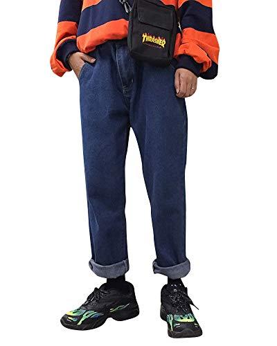 Da A Larga Uomo Pantaloni Vintage Marino Casual Blu Gamba Cintura Jeans Elastica dTqUd