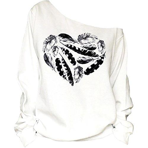QZUnique Women's Digital Print Long Sleeve Strapless Pullover Fleece Sweatshirt Dry Tree White