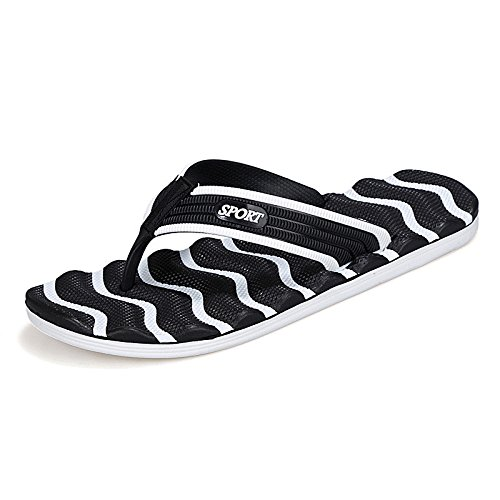 Sommer Neues Muster Art und Weise Großes Tendenz Freizeit Strand Flip Flops Männer Explosion, Weiß und Schwarz, UK = 7.5, EU = 41 1/3
