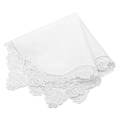 Milesky Bridal Wedding Crochet Lace Handkerchief Premium 60S Cotton (Bridal Hankie)