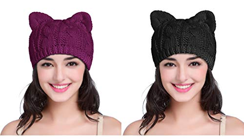 v28 Women Men Girls Boys Teens Cute Cat Ear Knit Cable Rib Hat Cap Beanie (Pack2(Black+Purple)) (Cable Beanie Rib)
