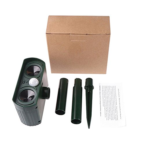 Yiitay Dog Repellent Outdoor Solar Powered Ultrasonic Repeller Dog Cat Birds Rodent Mice Squirrels Repellent by Yiitay