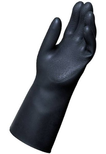 MAPA Chem-Ply N-440 Neoprene Glove, Chemical Resistant, 0.030'' Thickness, 14'' Length, Size 10, Black (Box of 6 Pairs)