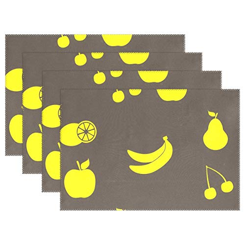 MECIKR Placemat Yellow Apple Banana Cherry Non-Slip Insulation Stain Resistant Washable Table Mats 1 Piece for Family Kitchen Dining