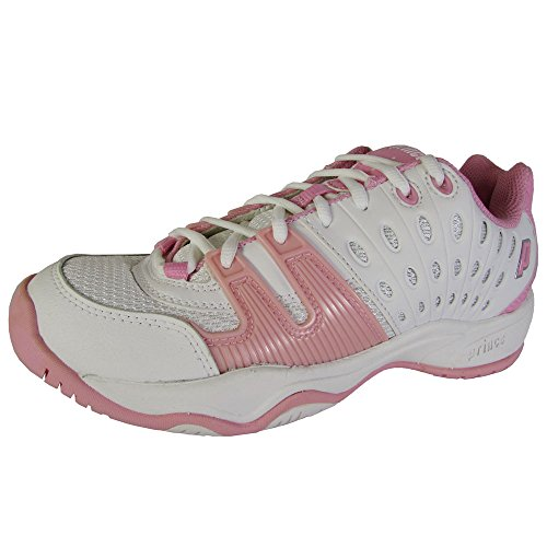 (Prince Little Kid/Big Kid T22 Tennis Shoe,White/Pink,6 M US Big Kid)