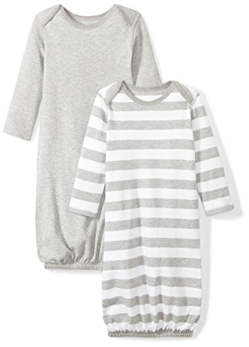 - Moon and Back Baby Set of 2 Organic Sleeper Gowns, Grey Heather, 0-6 Months