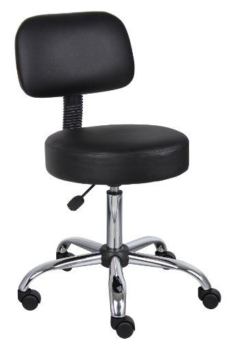 Boss Office Products B245-BK Be Well Medical Spa Stool with Back in Black - High Back Drafting Stools