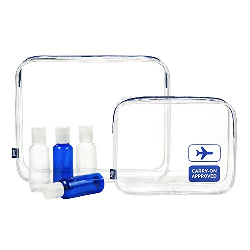 TSA-Approved Clear Travel Toiletry Bag Set - Bonus 4 x 80 ml