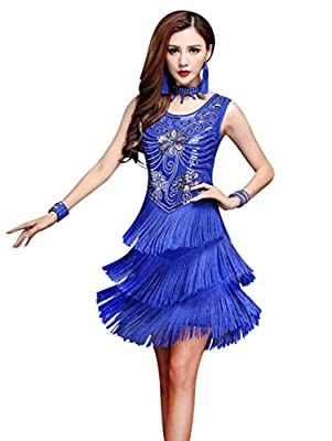 ZX 1920s Gatsby Sequin Deco Fringed Flapper Latin Dance Dress 4 Pieces Outfits