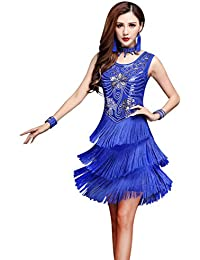 Z&X 1920s Gatsby Sequin Deco Fringed Flapper Latin Dance Dress 4 Pieces Outfits