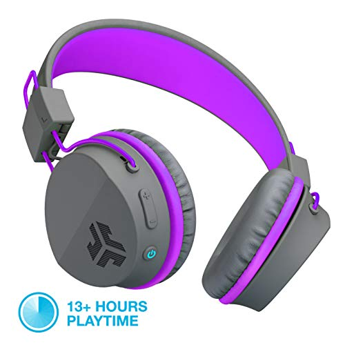 JLab Audio Neon Bluetooth Folding On-Ear Headphones | Wireless Headphones | 13 Hour Bluetooth Playtime | Noise Isolation | 40mm Neodymium Drivers | C3 Sound (Crystal Clear Clarity) | Graphite/Purple