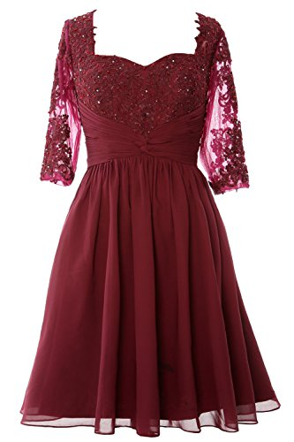 MACloth Women Half Sleeves Mother of Bride Dress Midi Cocktail Party Formal Gown Burgundy