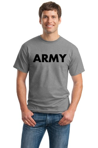 Pt Physical Training Shirt (ARMY PT SHIRT Unisex T-shirt / Physical Training, Military Gym Running Tee Shirt-Gray-Large)