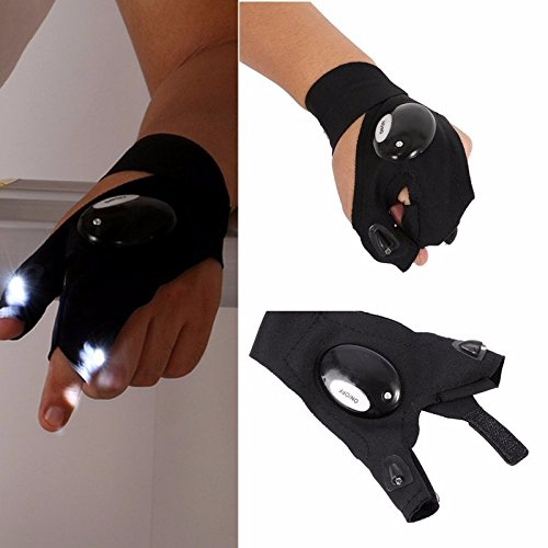 [NEW Outdoor Fishing Magic Strap Fingerless Glove LED Flashlight Torch Glove Survival Camping Hiking Rescue] (Costumes Halloween Yahoo)
